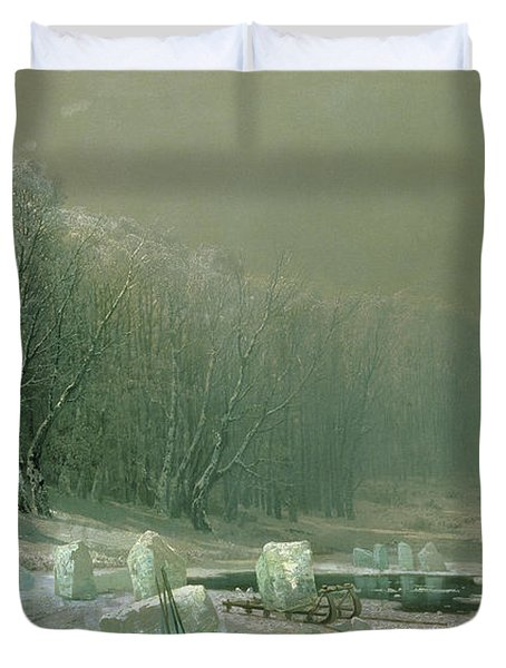 Winter The Laying Off Of Ice Duvet Cover by Arseniy Ivanovich Meshchersky