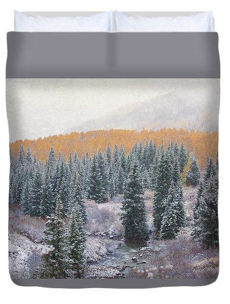 Winter Touches The Mountain Duvet Cover