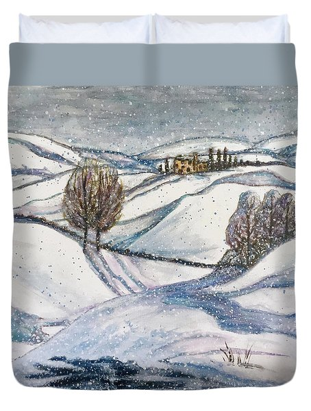 Duvet Cover featuring the painting Winter Tranquility by Rae Chichilnitsky