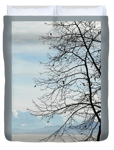 Winter Tree And Alps Mountains Upon The Fog Duvet Cover