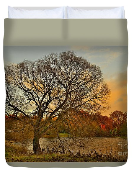 Winter Tree On The River Tweed Duvet Cover
