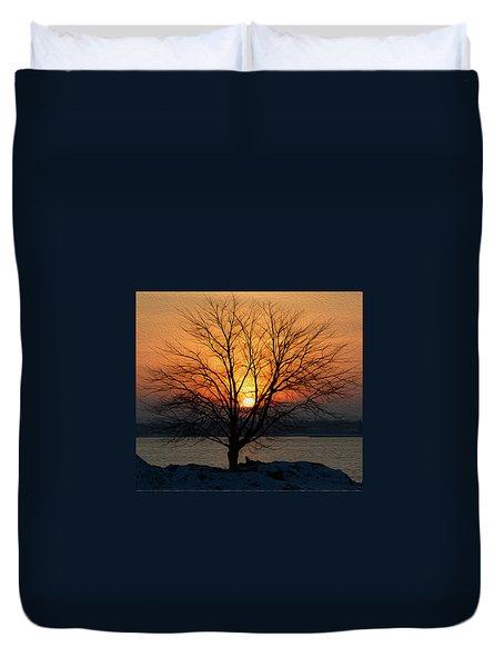 Winter Tree Sunrise Duvet Cover