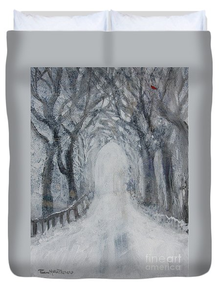 Duvet Cover featuring the painting Winter Tree Tunnel by Robin Maria Pedrero