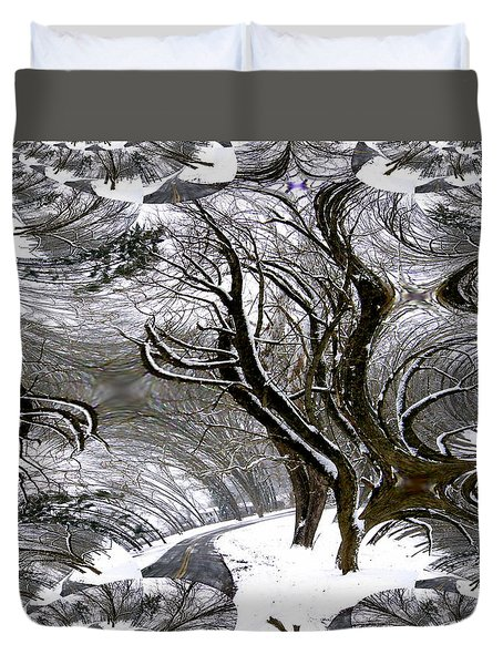 Winter Trees Abstract Duvet Cover by Skyler Tipton