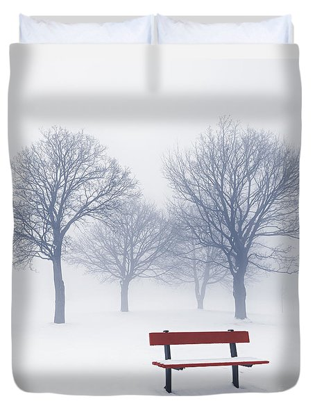 Winter Trees And Bench In Fog Duvet Cover