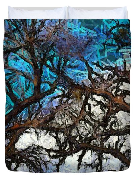 Duvet Cover featuring the photograph Winter Trees At Fort Tejon Lebec California Abstract by Floyd Snyder