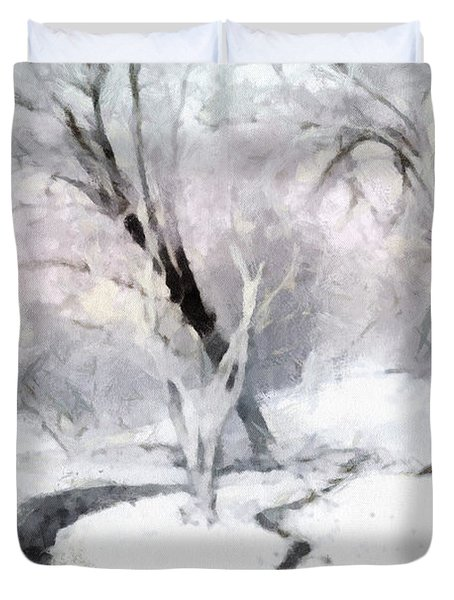 Duvet Cover featuring the digital art Winter Trees by Francesa Miller