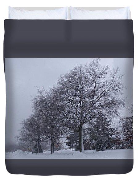 Winter Trees In Sea Girt Duvet Cover