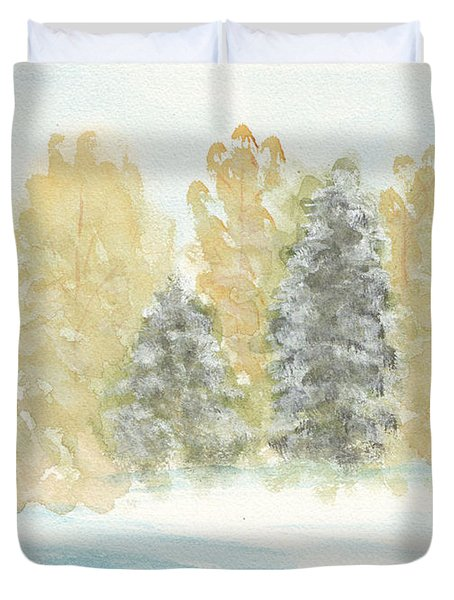 Winter Trees Duvet Cover by Ken Powers