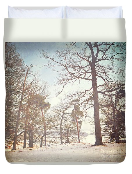 Duvet Cover featuring the photograph Winter Trees by Lyn Randle