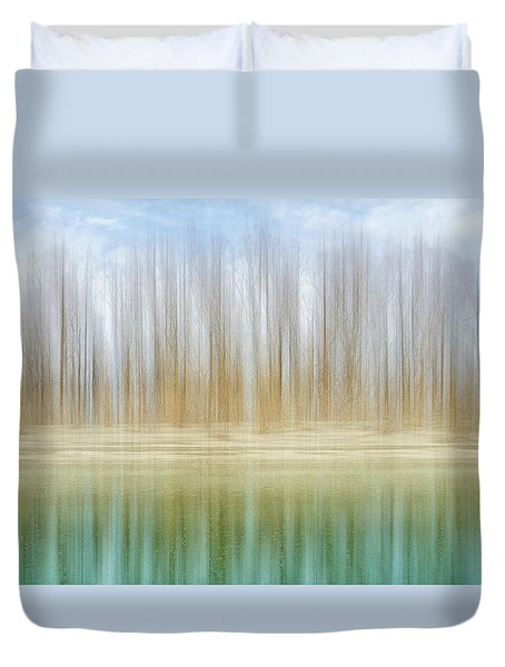 Winter Trees On A River Bank Reflecting Into Water Duvet Cover