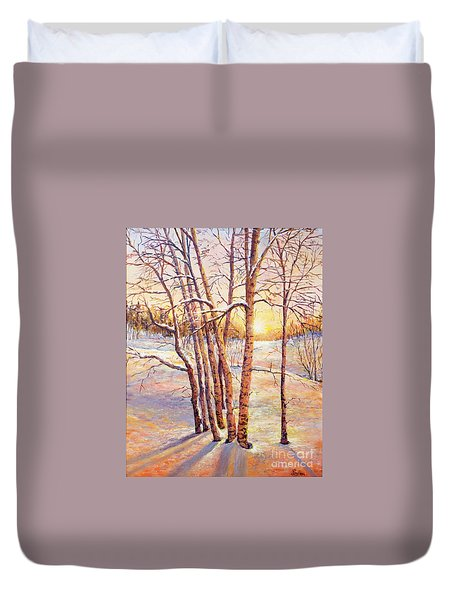 Winter Trees Sunrise Duvet Cover