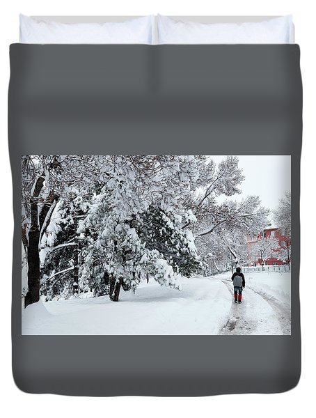 Winter Trekking-3 Duvet Cover