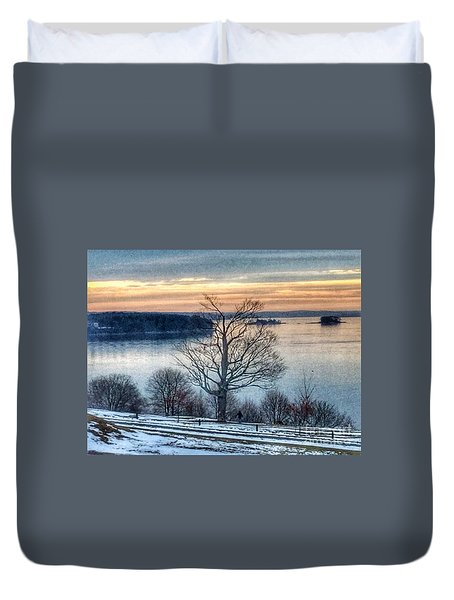 Winter Twilight At Fort Allen Park Duvet Cover