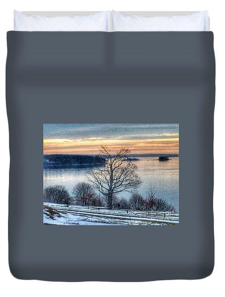 Winter Twilight At Fort Allen Park Duvet Cover