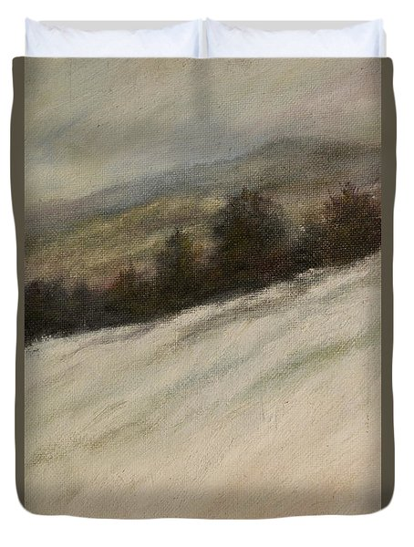 Duvet Cover featuring the painting Winter Twilight by Kathleen McDermott