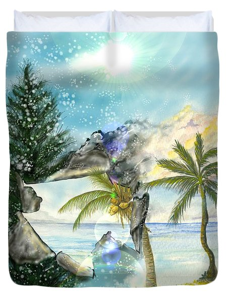 Duvet Cover featuring the digital art Winter Vacation by Darren Cannell