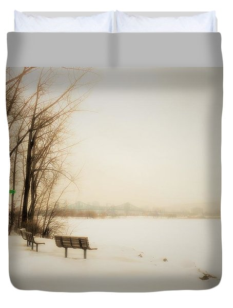 Winter View Over Montreal Duvet Cover