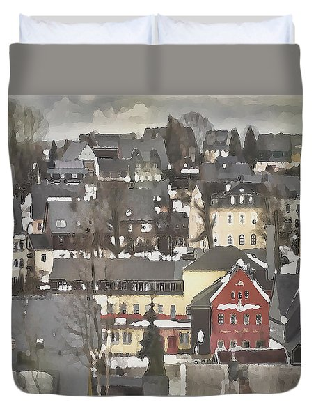 Winter Village With Red House Duvet Cover
