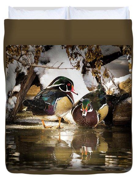 Winter Visitors - Wood Ducks Duvet Cover