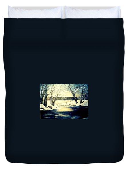 Winter Walk At Bennett's Mill Bridge Duvet Cover by Gail Kirtz