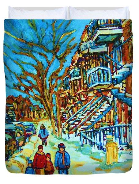 Winter  Walk In The City Duvet Cover by Carole Spandau