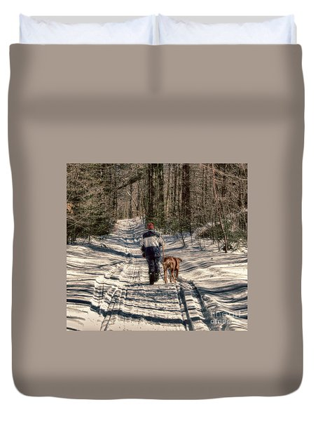 Winter Walk Duvet Cover by Mim White