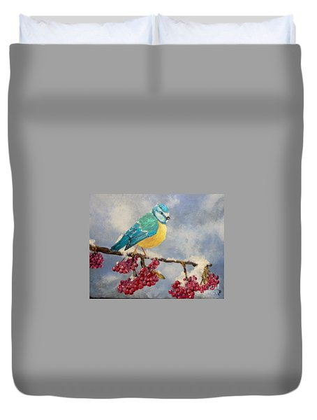 Duvet Cover featuring the painting Winter Watch by Saundra Johnson