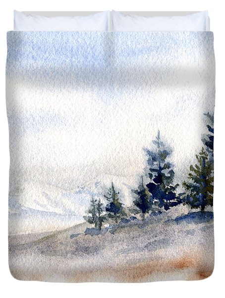 Winter Watercolor Painting Duvet Cover