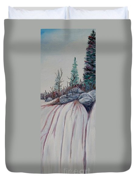 Duvet Cover featuring the painting Winter Waterfall by Marilyn  McNish