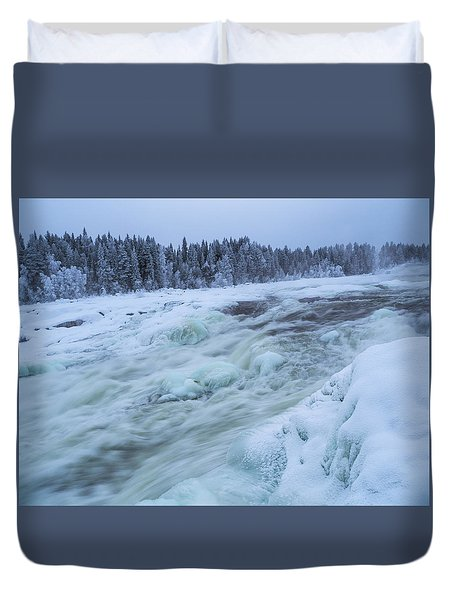 Winter Waterfall Duvet Cover by Tamara Sushko