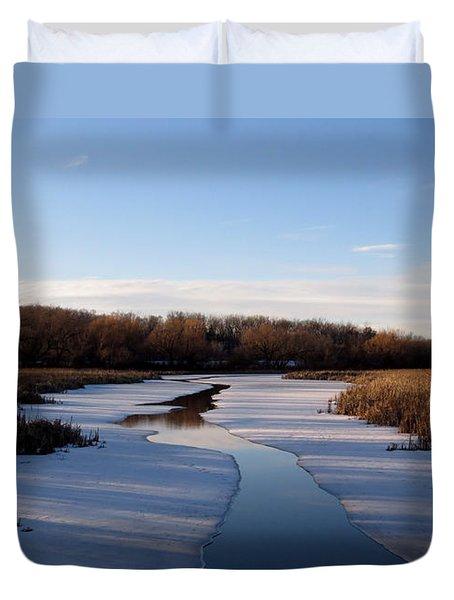 Winter Waters At Lake Kegonsa Duvet Cover