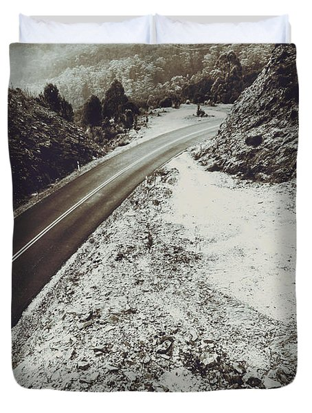 Winter Weather Road Duvet Cover