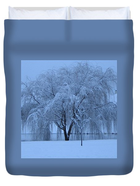 Winter Willow Tree Before Dawn_fort Worth_tx Duvet Cover