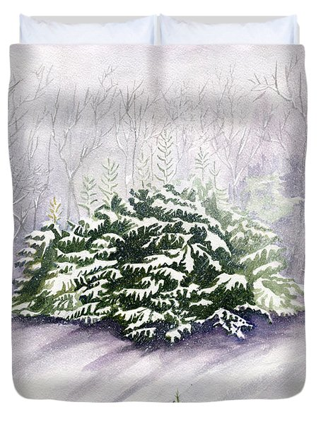 Duvet Cover featuring the painting Winter Wind by Melly Terpening