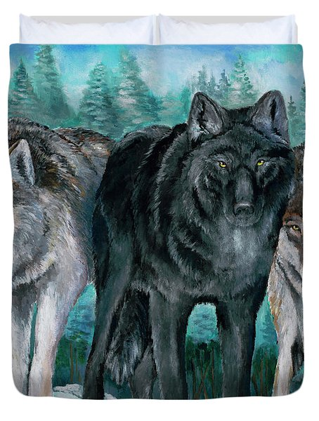 Winter Wolves Duvet Cover