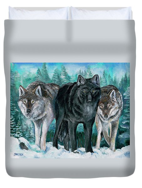 Winter Wolves Duvet Cover