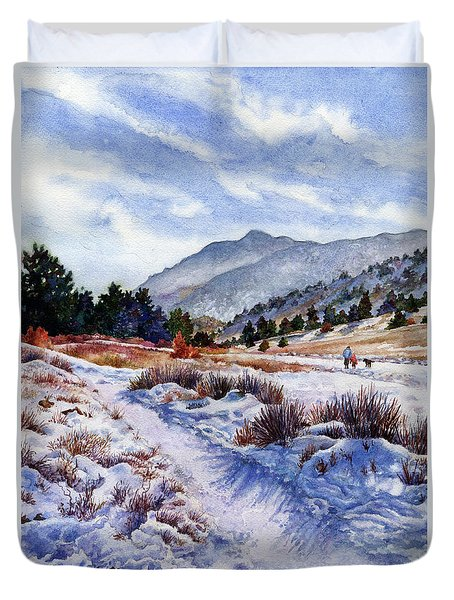 Duvet Cover featuring the painting Winter Wonderland by Anne Gifford