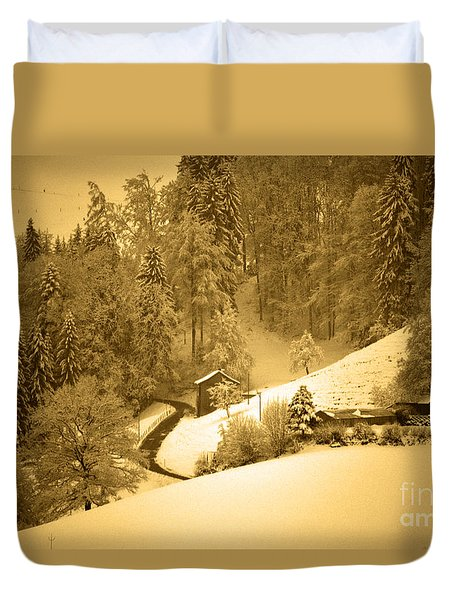 Duvet Cover featuring the photograph Winter Wonderland In Switzerland - Up The Hills by Susanne Van Hulst