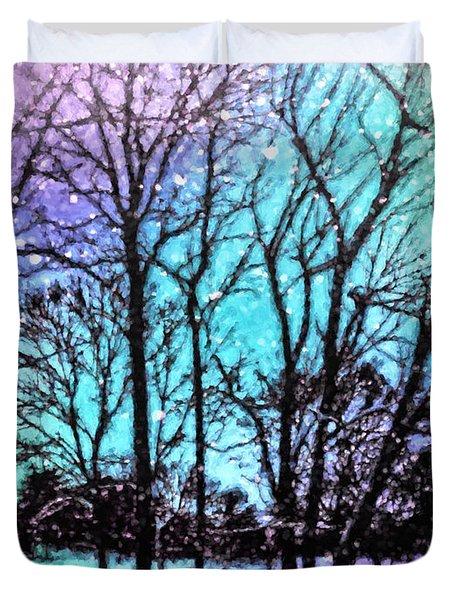 Winter Wonderland Painting Duvet Cover