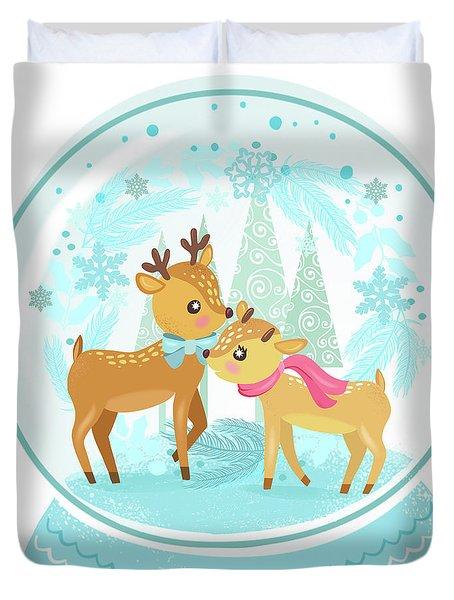 Winter Wonderland Snow Globe Duvet Cover