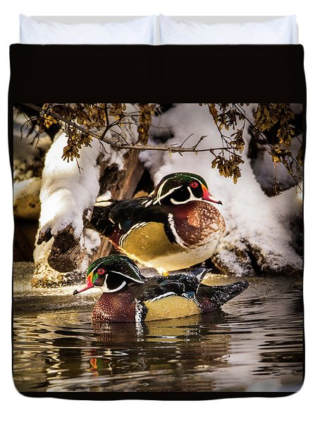 Wintering Wood Ducks Duvet Cover