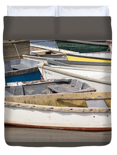 Duvet Cover featuring the photograph Winterport Dories Abstract by Peter J Sucy