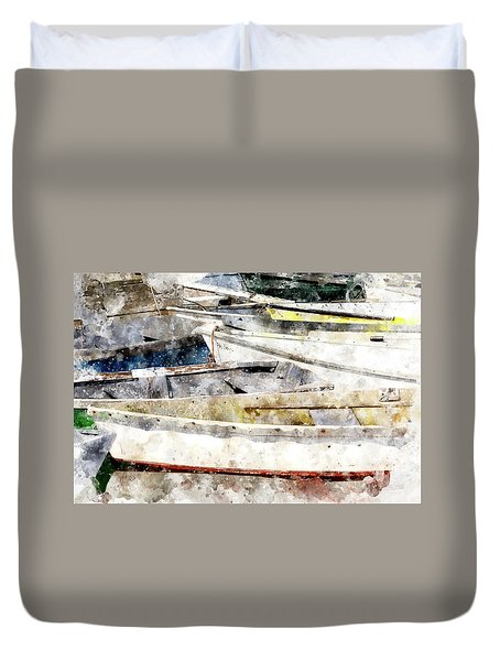 Winterport Dories Wc Duvet Cover by Peter J Sucy