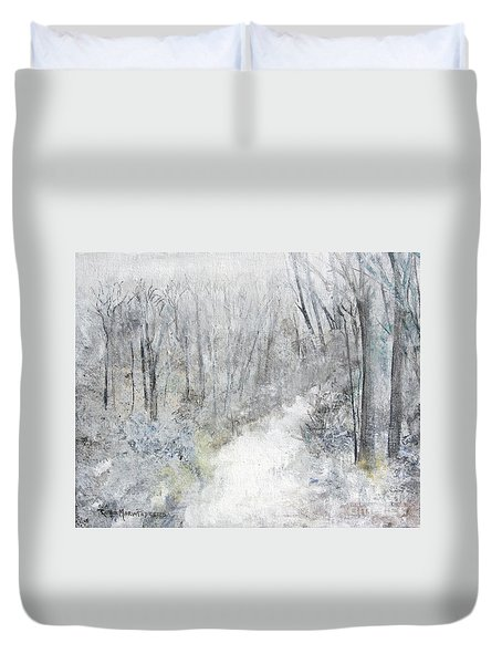 Duvet Cover featuring the painting Winter's Day by Robin Maria Pedrero