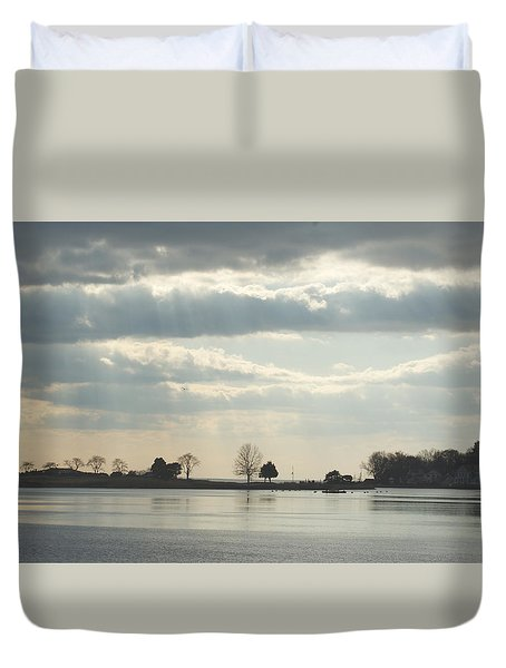 Winter's Light At South Harbor Duvet Cover