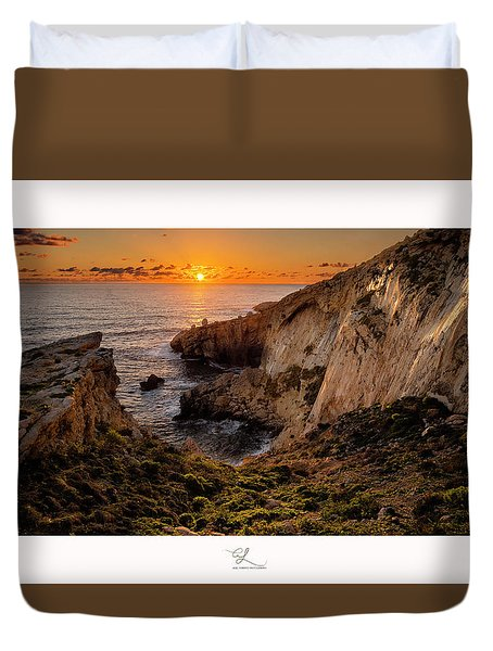 Winter's Sunset Duvet Cover