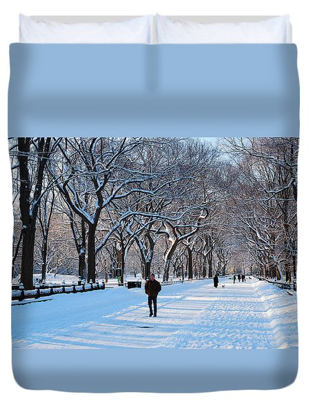 Duvet Cover featuring the photograph Wintertime In Central Park by James Kirkikis