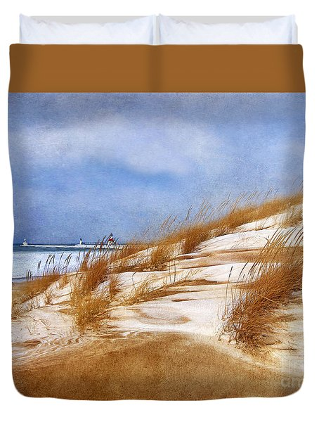 Duvet Cover featuring the photograph Wintertime St. Joe Lighthouse  by Kathi Mirto