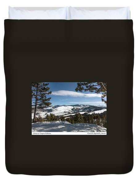 Duvet Cover featuring the photograph Wintertime View From Hellroaring Overlook In Yellowstone National Park by Carol M Highsmith